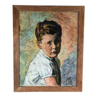 Mid 20th Century Portrait of a Young Boy Oil Painting, Framed For Sale