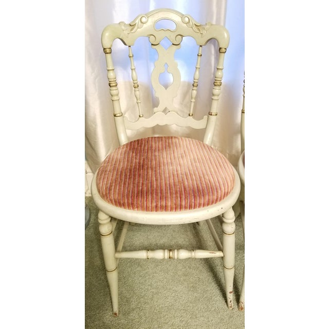 Early 20th Century Vintage Petite Green Painted Side Chairs- a Pair For Sale - Image 5 of 6
