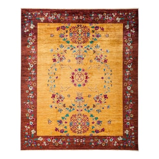 "Asian Inspired Suzani, Hand Knotted Floral Motif Wool Area Rug - 8' 1"" X 9' 9"""