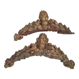 Antique French Giltwood Hand-Carved Overdoors - a Pair For Sale