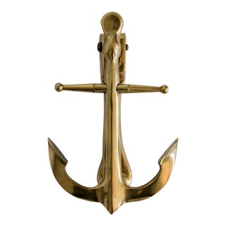 Nautical Vintage Brass Anchor Door Knocker For Sale