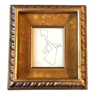 Vintage Original Miniature Robert Cooke Abstract Ink Drawing Framed For Sale