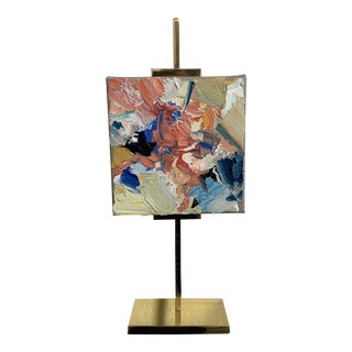 Mini Abstract Oil Painting on Gold Brass Easel by Stephanie Wheeler For Sale