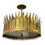 Image of Gilt Metal Sunburst Crown Ceiling Fixture With Frosted Glass