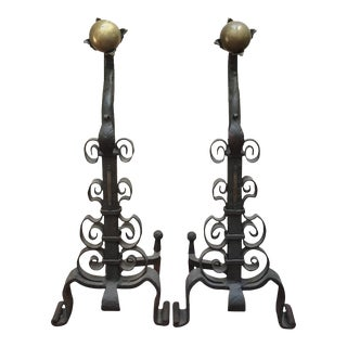 19th Century Iron and Brass Andirons - a Pair For Sale