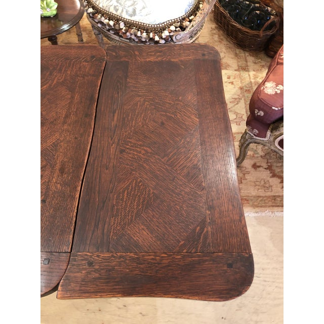 Mid 19th Century French Country Small Parquetry Walnut Refractory Table For Sale - Image 5 of 11