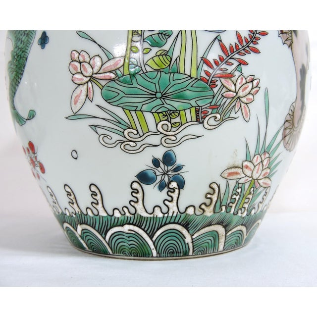 'Kangxi' Chinese Pink & White Lotus Flower Porcelain Ginger Jar With Green and Blue Fish For Sale In Tampa - Image 6 of 10