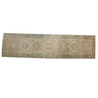 "Vintage Distressed Karaja Rug Runner - 3'3"" X 12'9"""