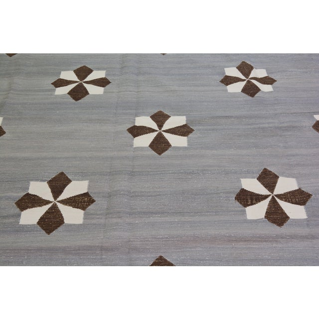 """Shabby Chic Vintage Modern Hand Made Organic Cotton Natural Color Modern Kilim,8'x10'2"""" For Sale - Image 3 of 6"""