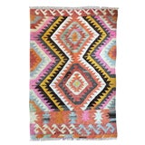 Image of Turkish Kilim Geometric Flat Weave Tribal Rug in Pastel Pink Yellow Black and Orange - 3′5″ × 5′ For Sale