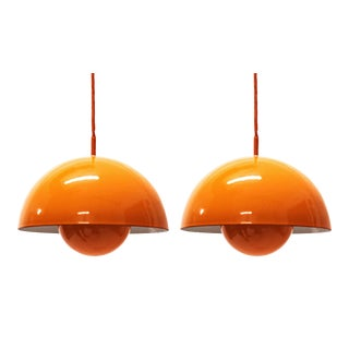 1970s Verner Panton Flowerpot Pendant Lights for Louis Poulsen, Denmark - a Pair For Sale