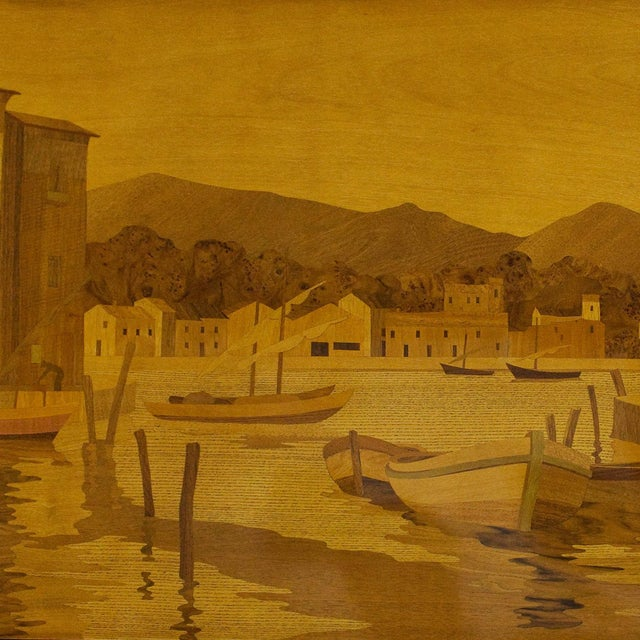 1940s Large Decorative Panel by Rosenau, Fishing Port Scene, Marquetry, France For Sale - Image 4 of 7