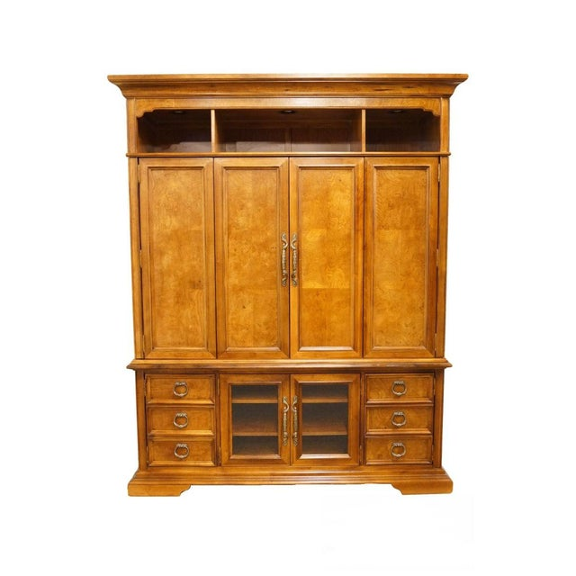 "Stanley Furniture Contemporary Oak and Burled Walnut 72"" Media Tv Console Cabinet For Sale - Image 12 of 12"
