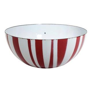 Catherine Holmes Decorative Red Enamel Stripes Salad Bowl Moma Danish Modern For Sale