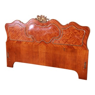 French Louis XV Inlaid Mahogany and Bronze Ormolu Mounted Queen Size Headboard, Circa 1920s For Sale