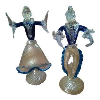 Pair of Murano Venetian Art Glass Figurines