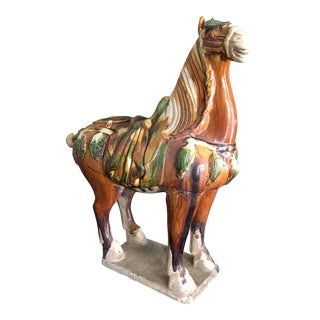 Early 20th Century Chinese Handpainted Tang Horse Ceramic Statue For Sale