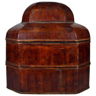 Antique Chinese Handmade Red Varnished Bamboo Stacked Box from the 19th Century For Sale