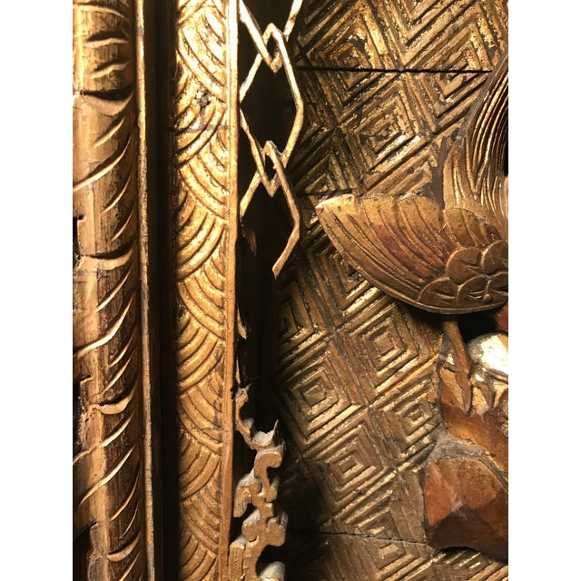 18th Century Antique Qing Chinese Carved Monumental Giltwood Temple Wall Panel Cassette For Sale - Image 10 of 12