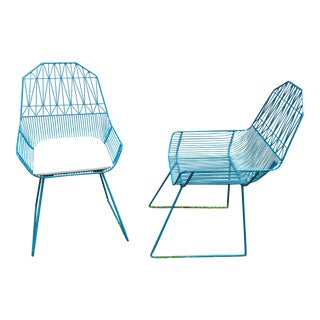Bend Goods Teal Blue Wire Lounge Chair For Sale