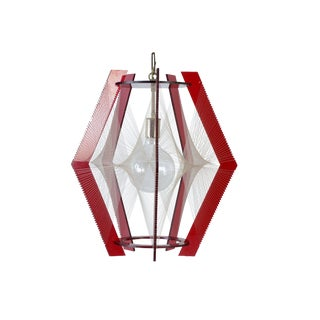 1960s Mid Century Modern Red Lucite Pendant Light Fixture For Sale
