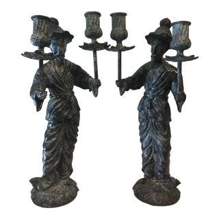 Asian Cast Bronze Chinoiserie 2 Stick Candle Holders - a Pair For Sale
