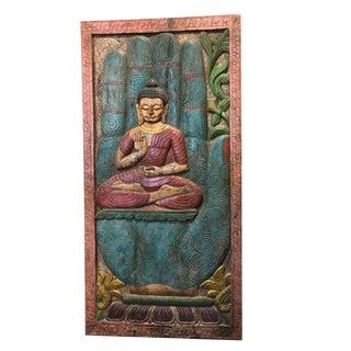 1990s Vintage Buddha Carved Wood Panel For Sale