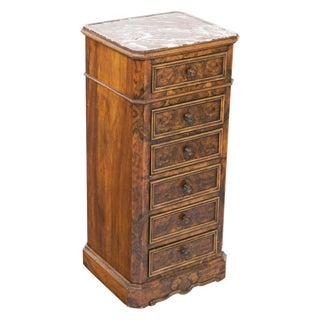 1840s French Louis Philippe Burl Night Stand For Sale