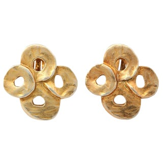 French Valerie Viloin Labbe Goldtone Earrings For Sale