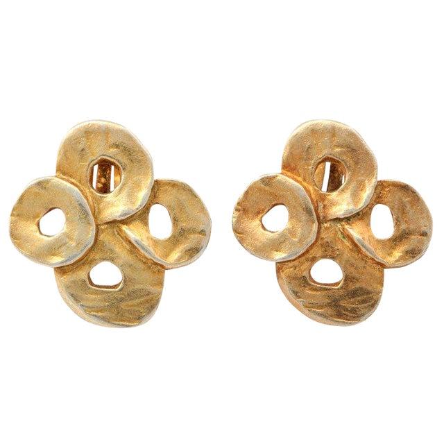 French Valerie Viloin Labbe Goldtone Earrings For Sale