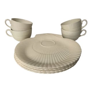 """1980s Vintage Wedgwood """"Edme"""" Nautilus Shell Snack Plates & Cups - Set of 8"""
