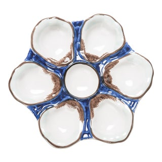 Oyster Plate, Ceramic Round, Navy For Sale