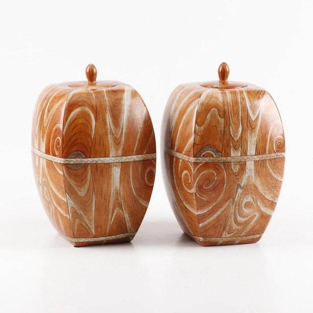 Ceramic Late 19th to Early 20th Century Chinese Faux-Bois Lidded Jars With Apocryphal Yongzheng Reign Marks - a Pair For Sale - Image 7 of 7