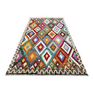 Colorful Geometric Hand-Knotted Turkish Konya Tulu Rug For Sale