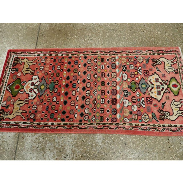 """Cotton Vintage Persian Mahal Rug – Size: 2' 1"""" X 4'4"""" For Sale - Image 7 of 9"""