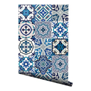 Moroccan Blue Portuguese Pre-Pasted Wallpaper - 2 Piece Set For Sale
