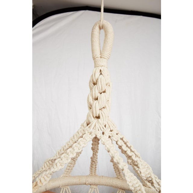 1970s Vintage Boho Chic Macrame Hanging Chair For Sale - Image 5 of 13