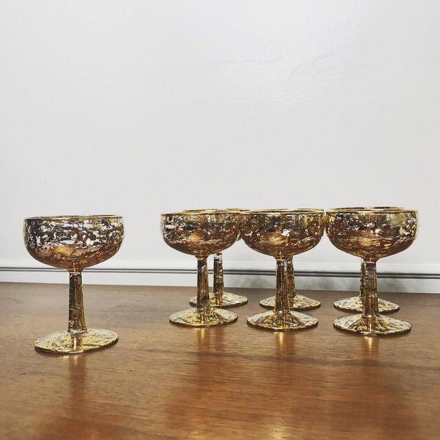 Vintage 22k 70s Gold Flecked Wine Glasses - Set of 7 For Sale - Image 4 of 6