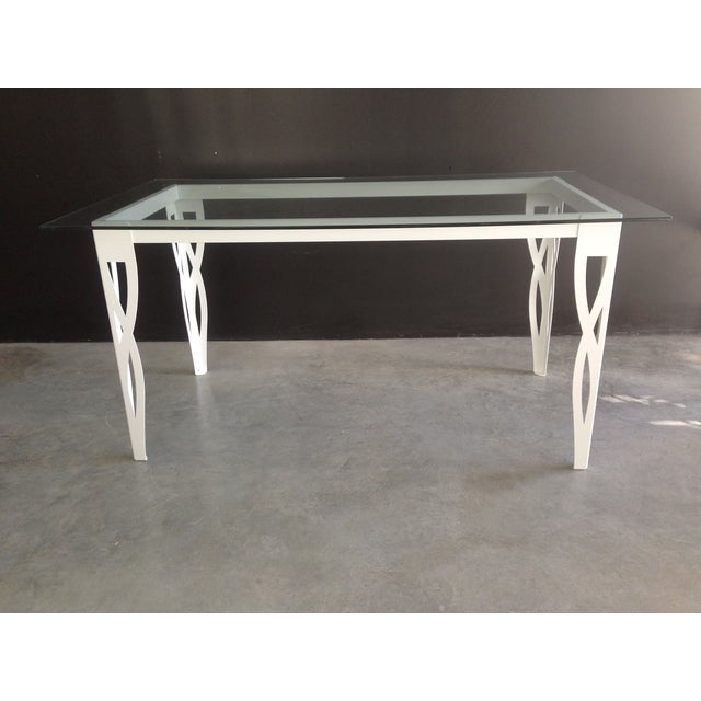 Contemporary Handmade White Wrought Iron Patio Dining Set For Sale - Image 3 of 6