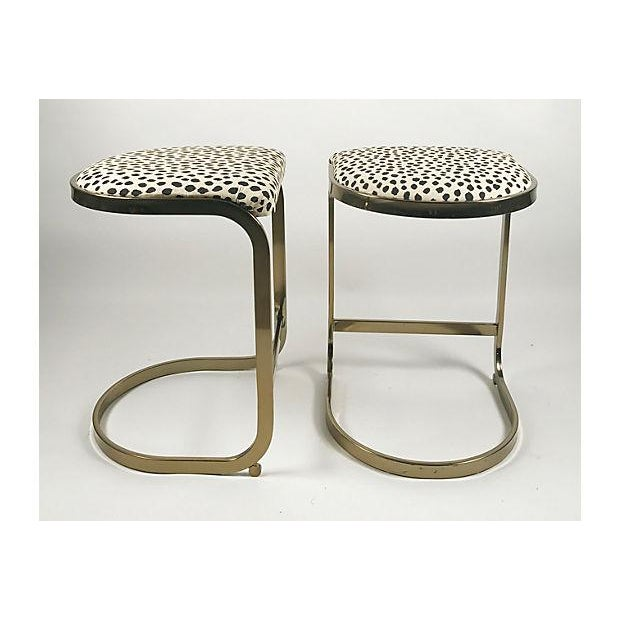 Milo Baughman Style Brass Cantilever Stools - A Pair For Sale - Image 5 of 10
