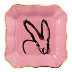 Hunt Slonem Pink Bunny Portrait Plate With Gold Rim - Set of 2