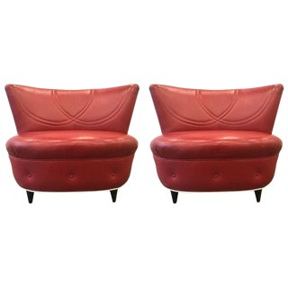 Pair Tufted Leather Lounge Chairs Gilbert Rohde For Sale