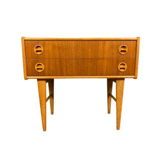 Vintage Scandinavian Mid Century Modern Teak and Oak Entry Chest For Sale