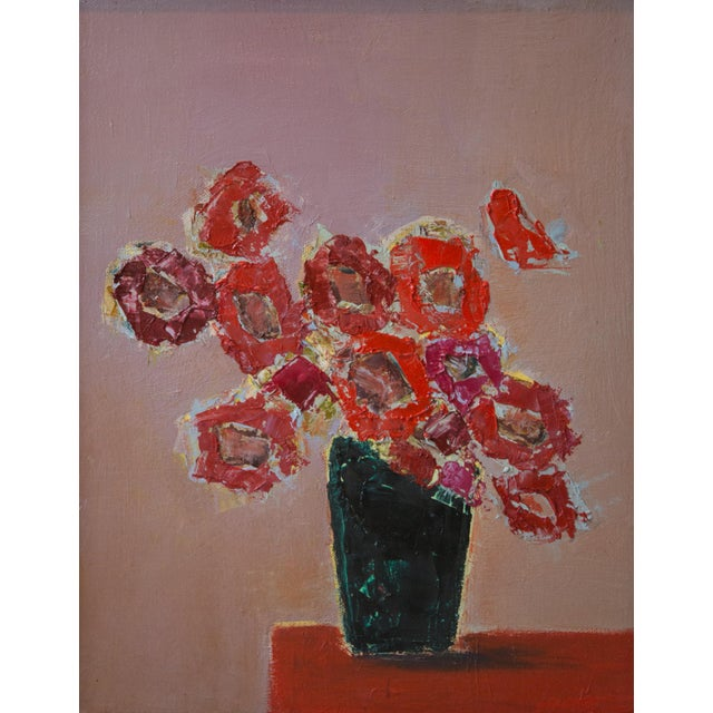 """2020s Bill Tansey """"Red"""" Abstarct Floral Oil Painting on Canvas For Sale - Image 5 of 5"""