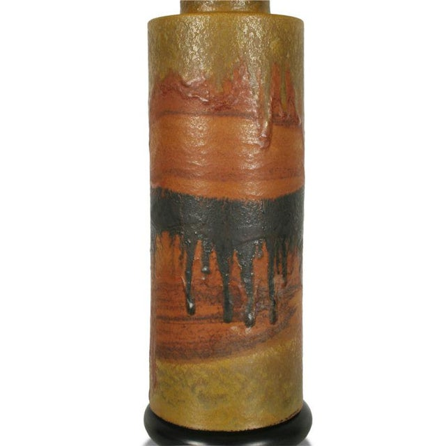 Italian Marcello Fantoni Desert Tone Drip Glaze Ceramic Table Lamp For Sale - Image 3 of 7