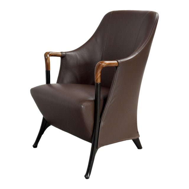 Mid-Century Modern Italian Design Seal Brown Leather Lounge Chair 'Progetti' by Giorgetti, 1980s For Sale