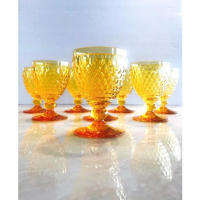 Set of eight luxury crystal claret wine glasses from Villeroy & Boch's Boston series. The stemware glasses are comprised...