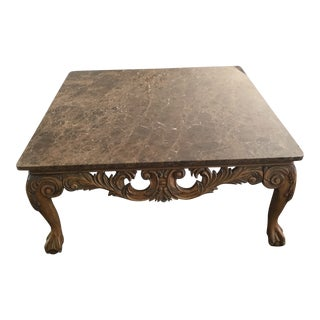 Marble and Wood Coffee Table For Sale