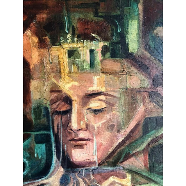 """1960s Vintage Marino Vergara """"Capricho Onirico"""" Abstract Signed Cubist Painting For Sale - Image 4 of 10"""