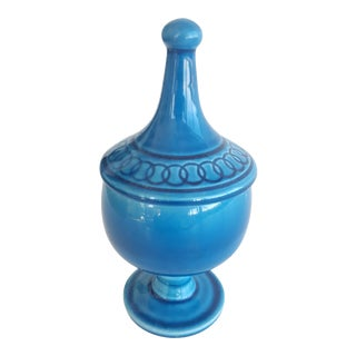 Mid Century Glazed Ceramic Cerulean Blue Compote Apothecary Jar with Lid For Sale
